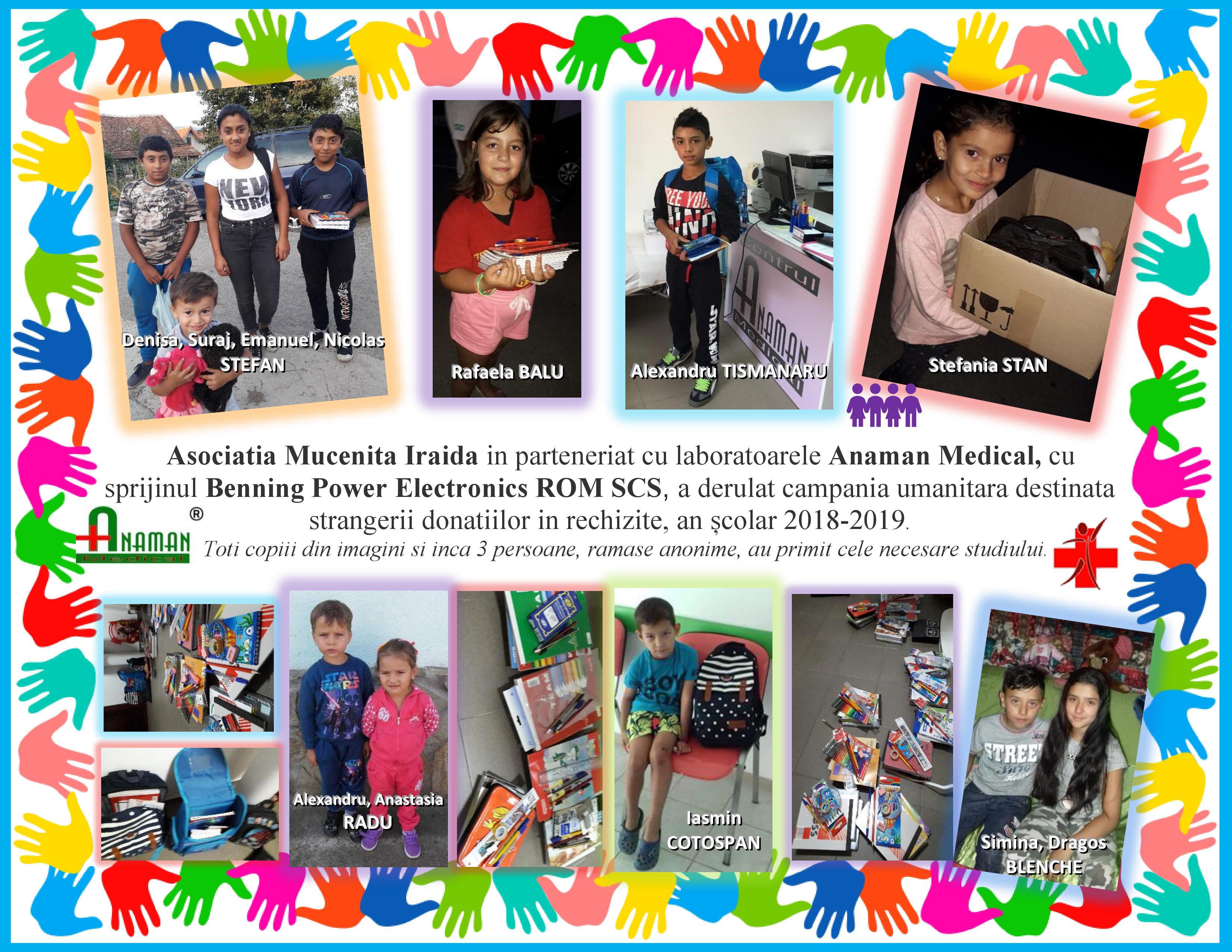 Campanie umanitara destinata strangerii donatiilor in rechizite, an scolar 2018-2019.